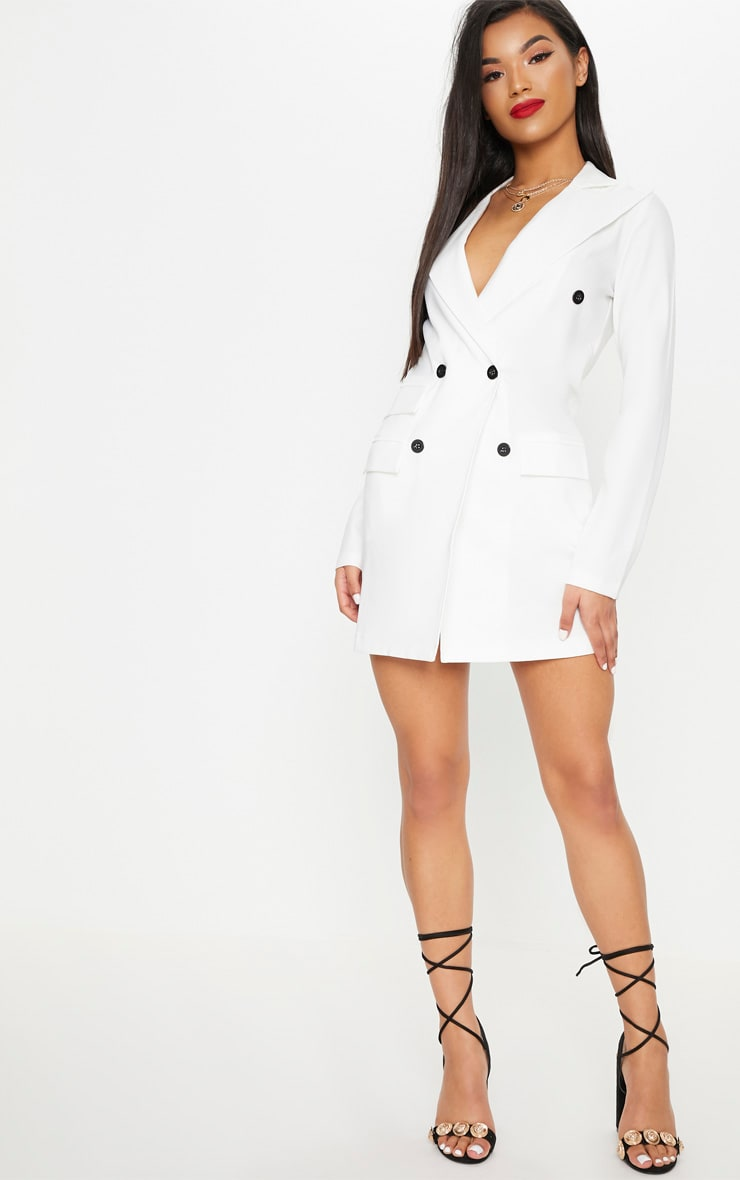 White Pocket Detail Blazer Dress 1
