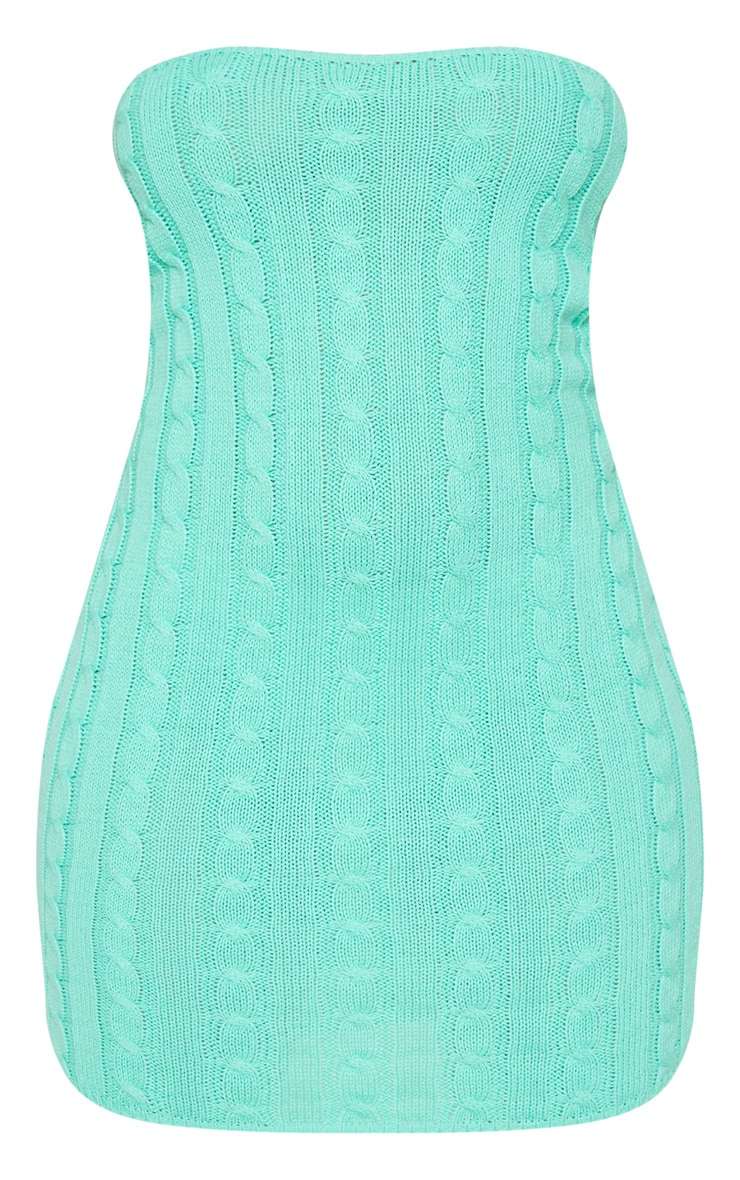 Green Cable Bandeau Knit Dress 3