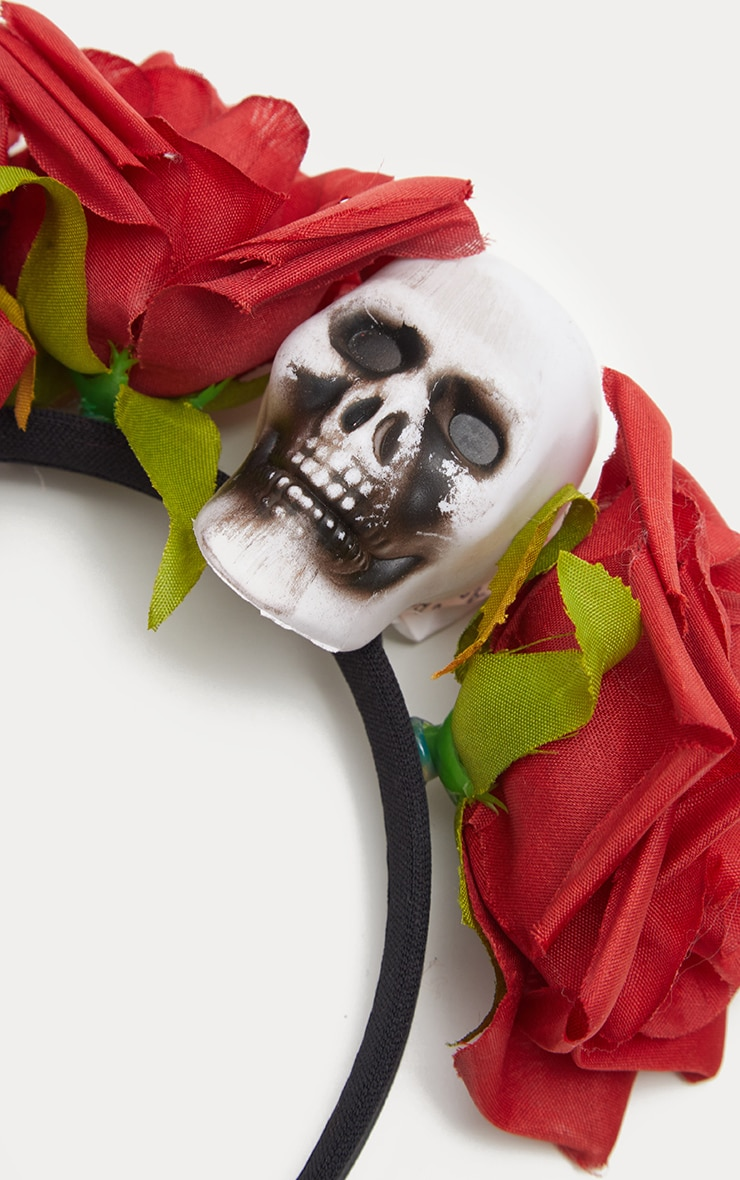 Red Day of the Dead Rose Skull Headband 3