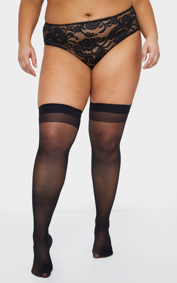 Plus Black Sheer Hold Up Stockings 1