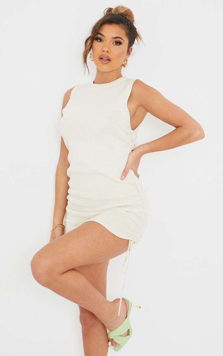 Cream Ruched Tie Side Knitted Mini Dress 1