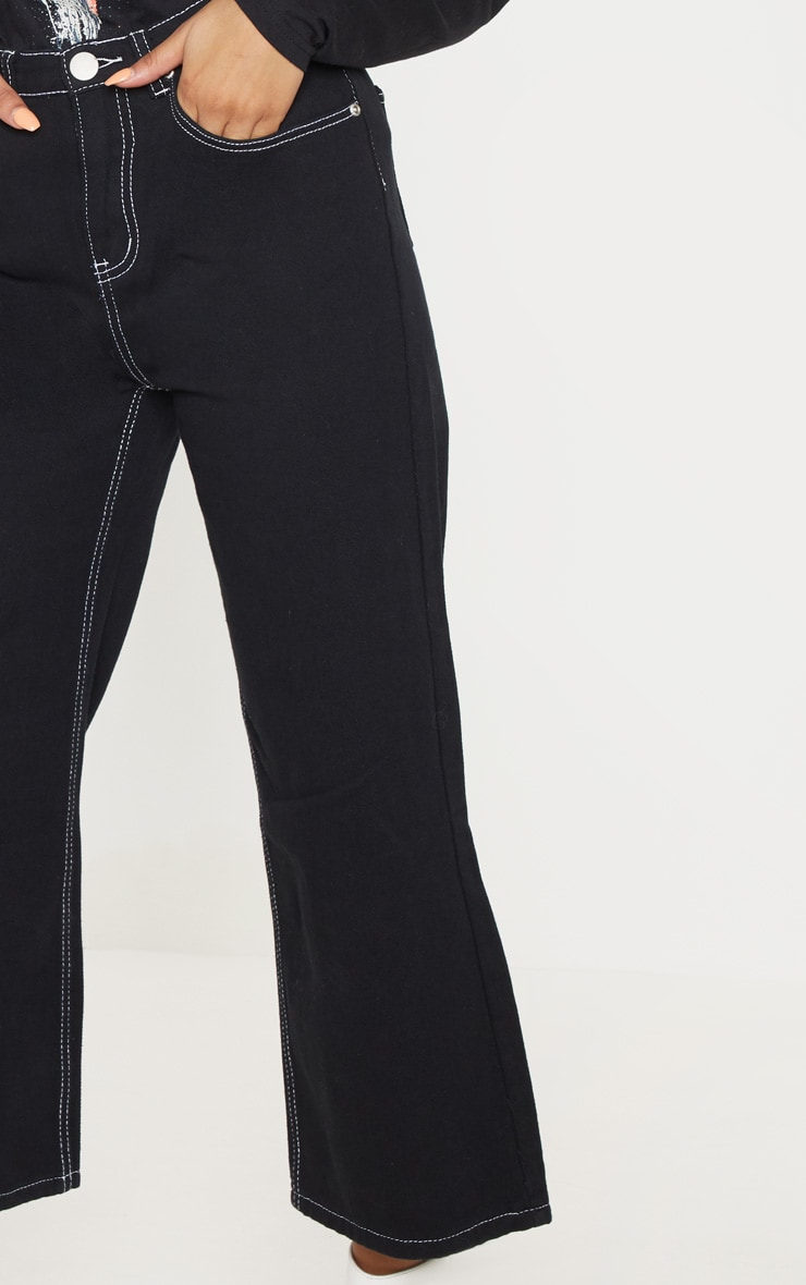 Black Wide Leg Utility Cropped Jeans 5