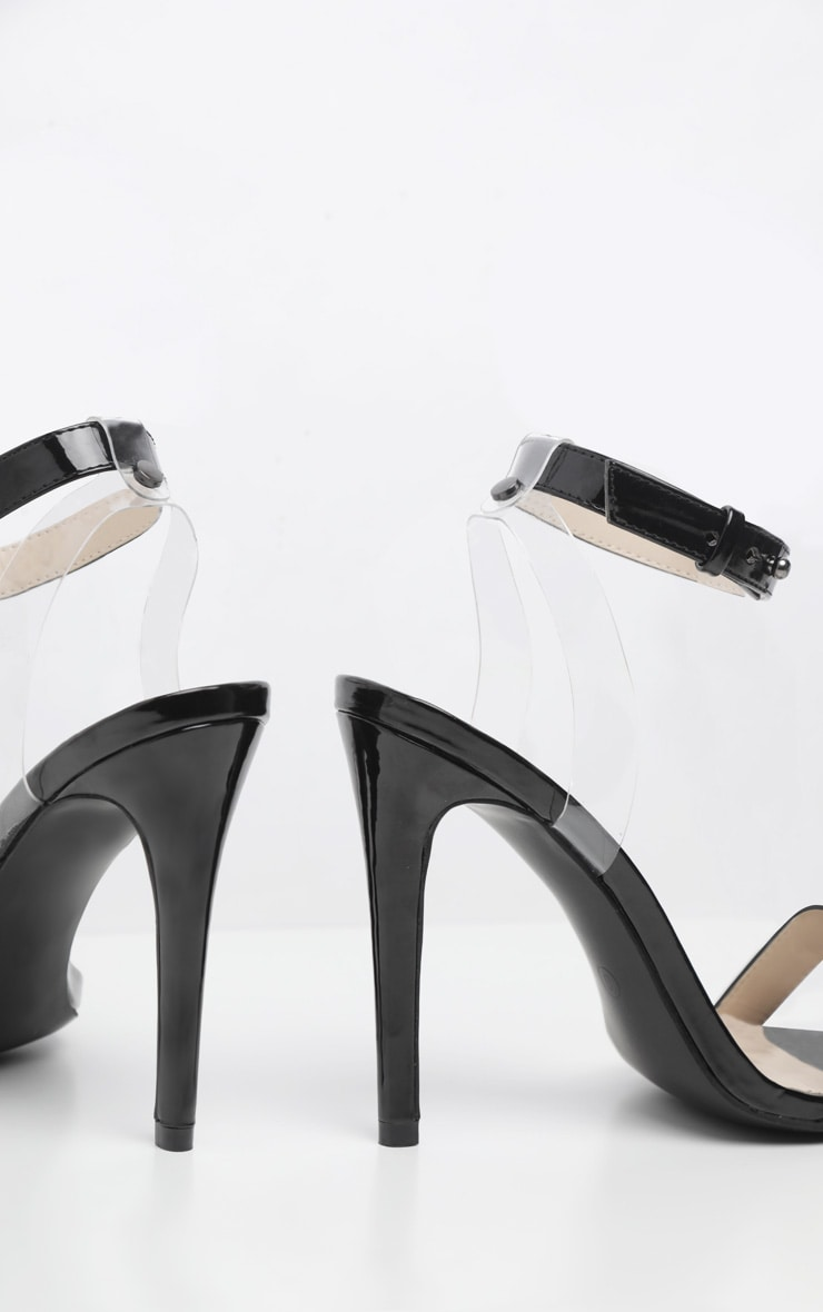 Black Clear Heel Strappy Sandal 4