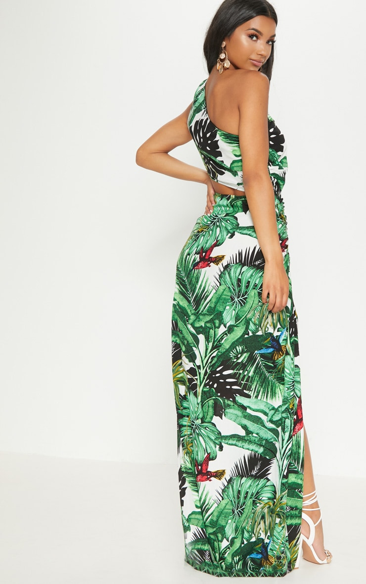 Green Tropical One Shoulder Cut Out Split Leg Maxi Dress 2