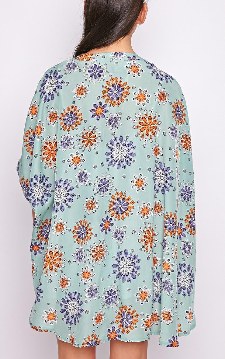 Zoey Mint Floral Kimono  1