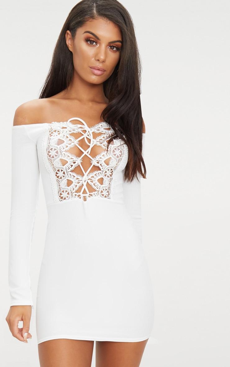 Whtie Lace Up Bardot Bodycon Dress 1