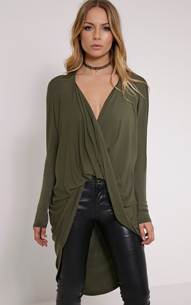 Chastity Khaki Long Twist Front Top 1