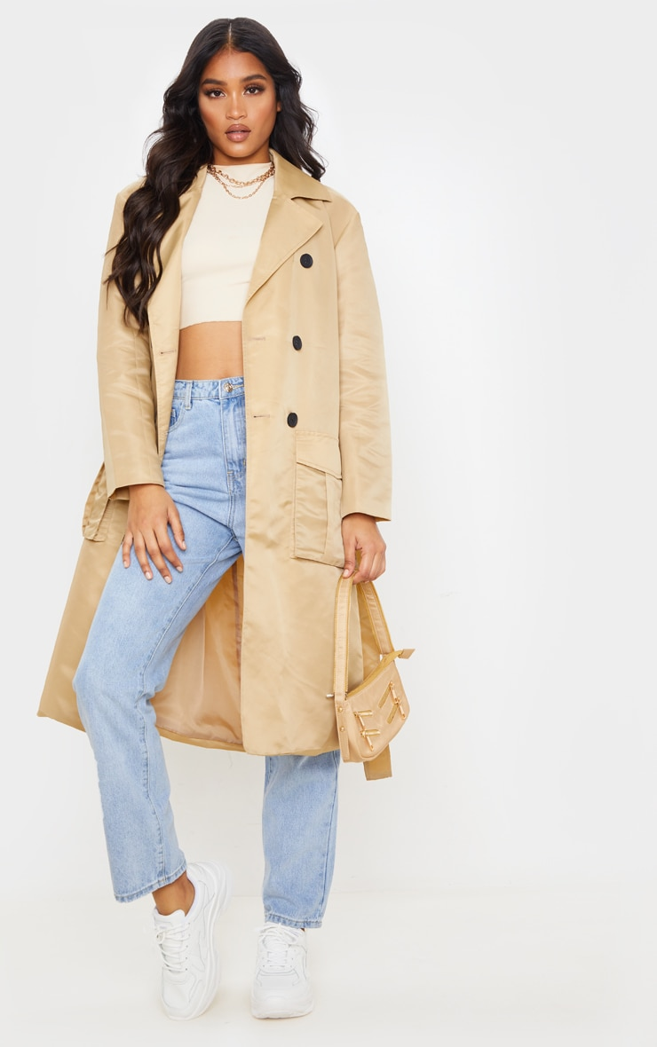 Stone Nylon Belted Trench 6