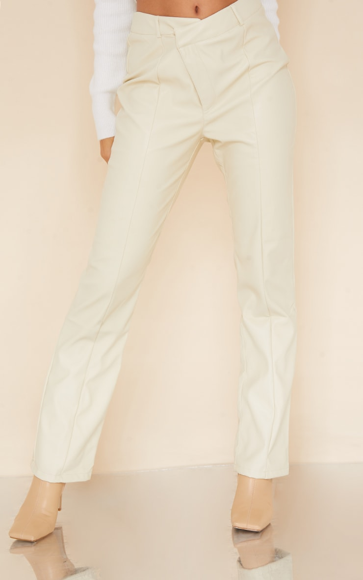 Cream Faux Leather V Front Skinny Trousers 2