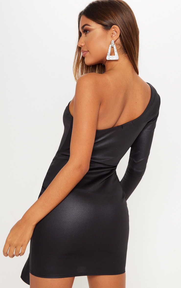 Black Matte PU One Shoulder Wrap Dress 2