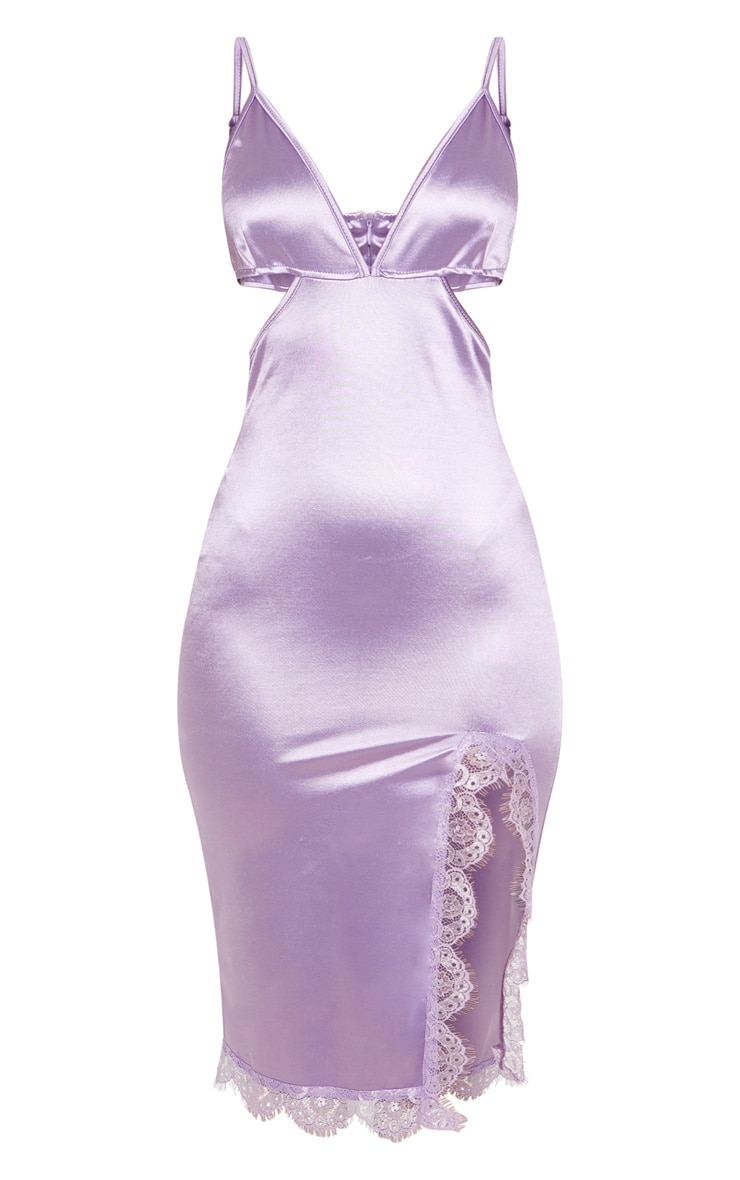 Lilac Satin Cut Out Lace Trim Midi Dress 3