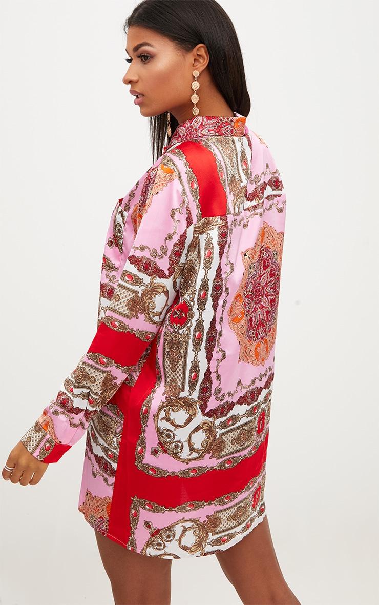 Pink Scarf Print Shirt Dress 2