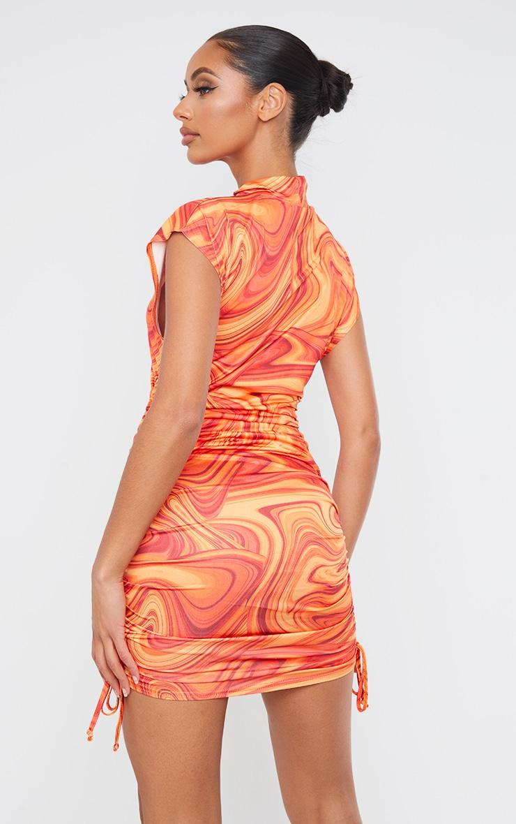 Orange Marble Print Slinky Sleeveless High Neck Ruched Bodycon Dress 2
