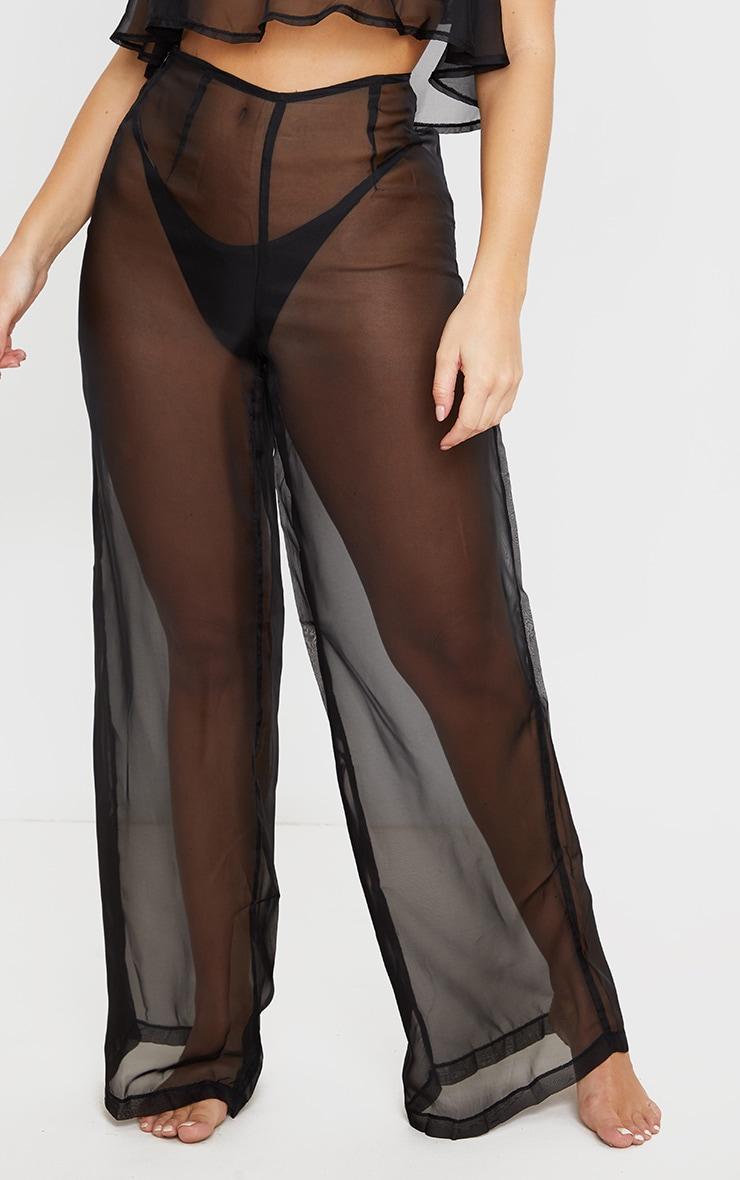 Black Wide Leg Beach Trouser 2