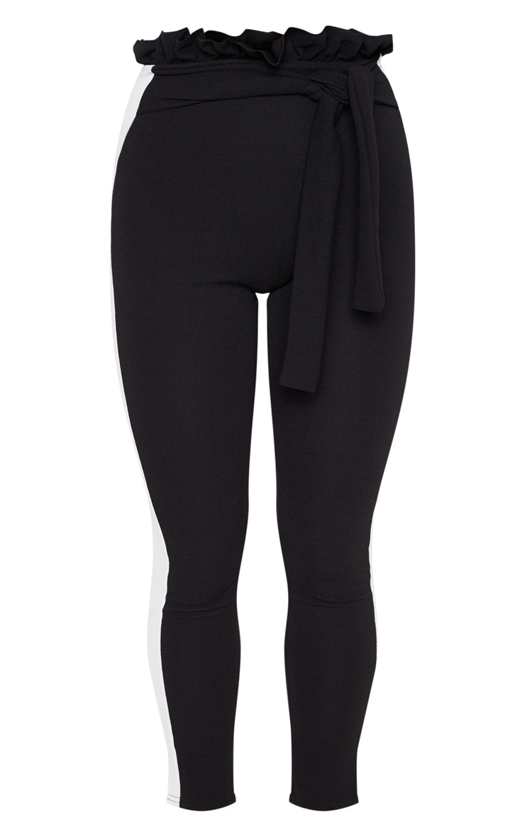 Black Side Stripe Paperbag Skinny Trousers 3