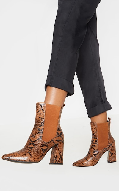 Brown Snake Point Toe Block Heel Chelsea Ankle Boot