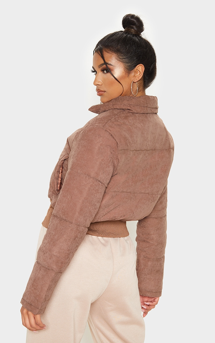 Chocolate Peach Skin Puffer Jacket 2