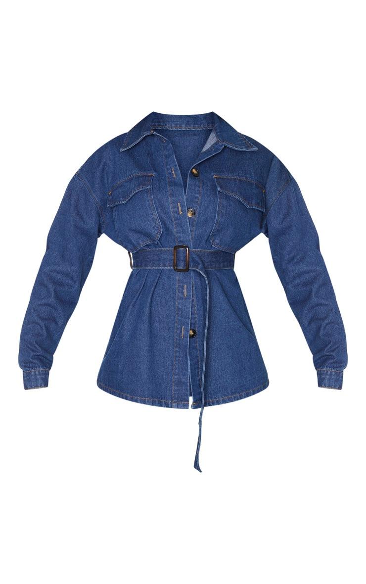 Veste longue oversize en jean délavé bleu foncé 3