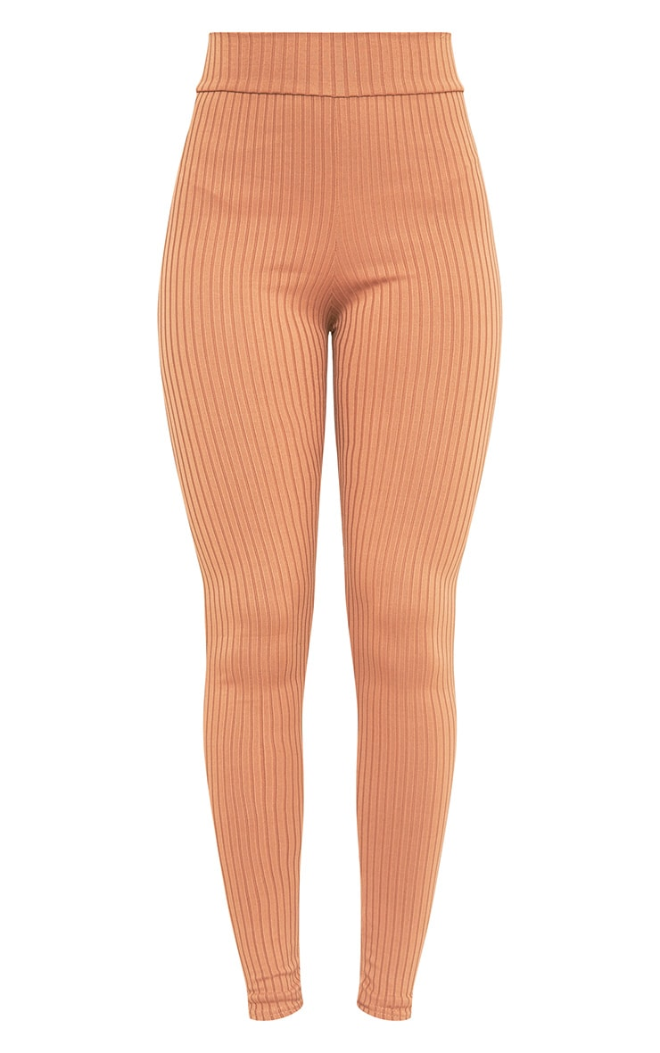 Harlie Camel Ribbed High Waisted Leggings 3
