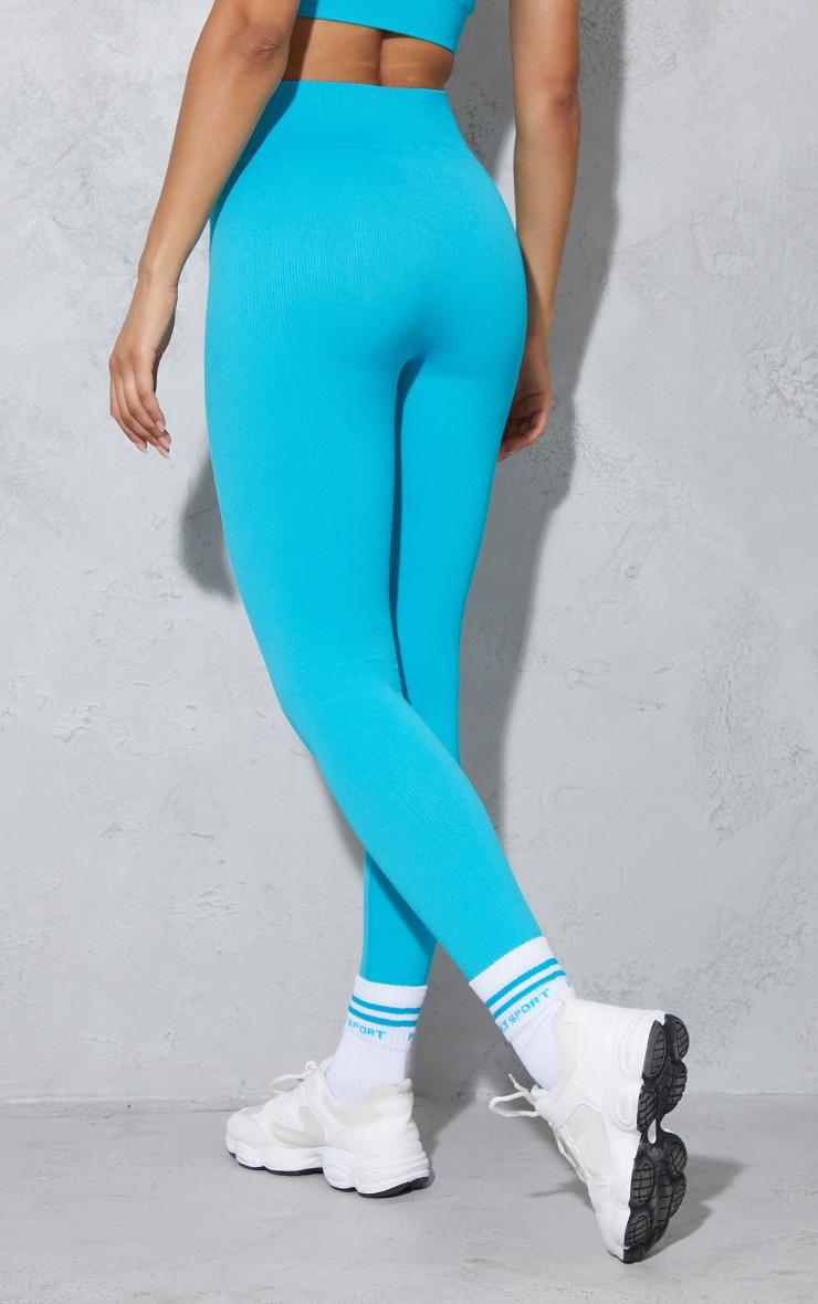 Aqua Seamless Rib Badge Sport Leggings 3