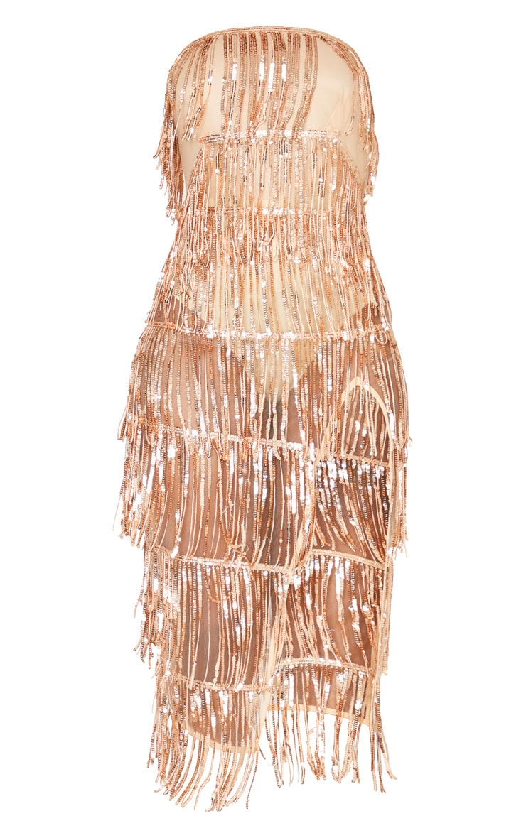 Rose Gold Bandeau Tassel Sequin Sheer Skirt Midi Dress 3