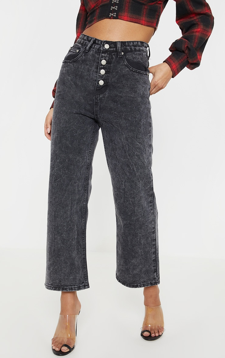Washed Black Button Through Wide Leg Cropped Jean 2