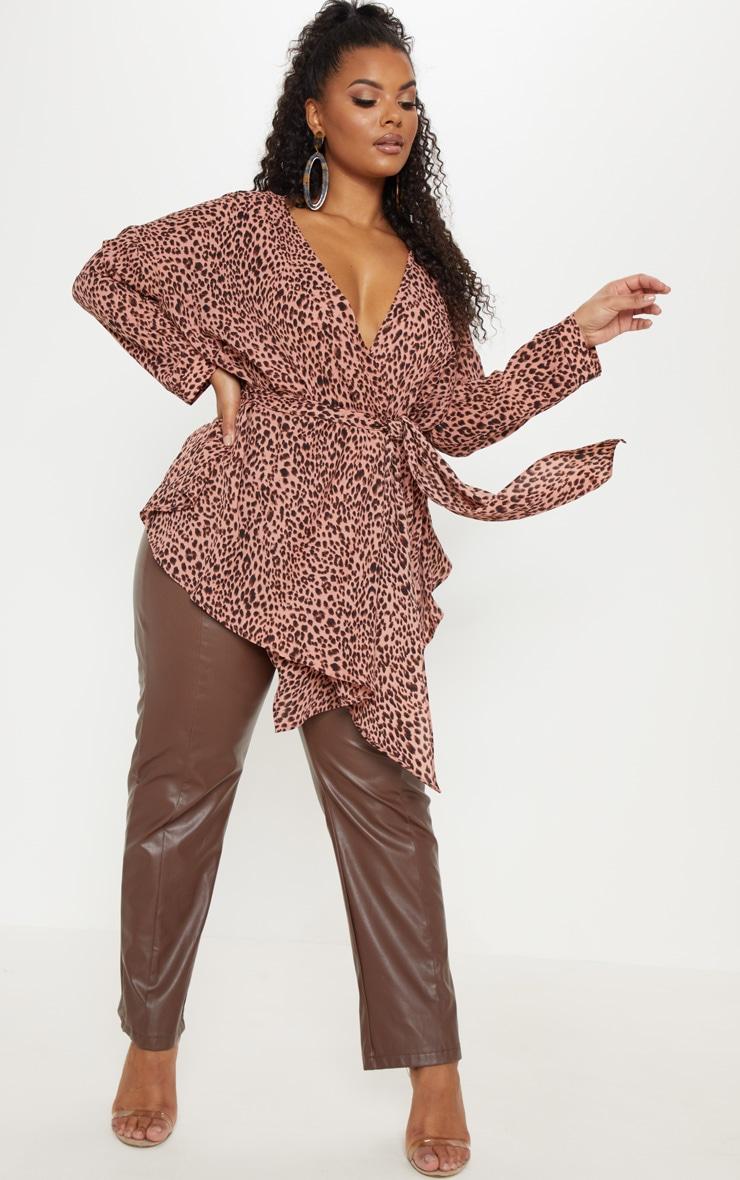 Plus Pink Leopard Woven Tie Waist Blouse 1