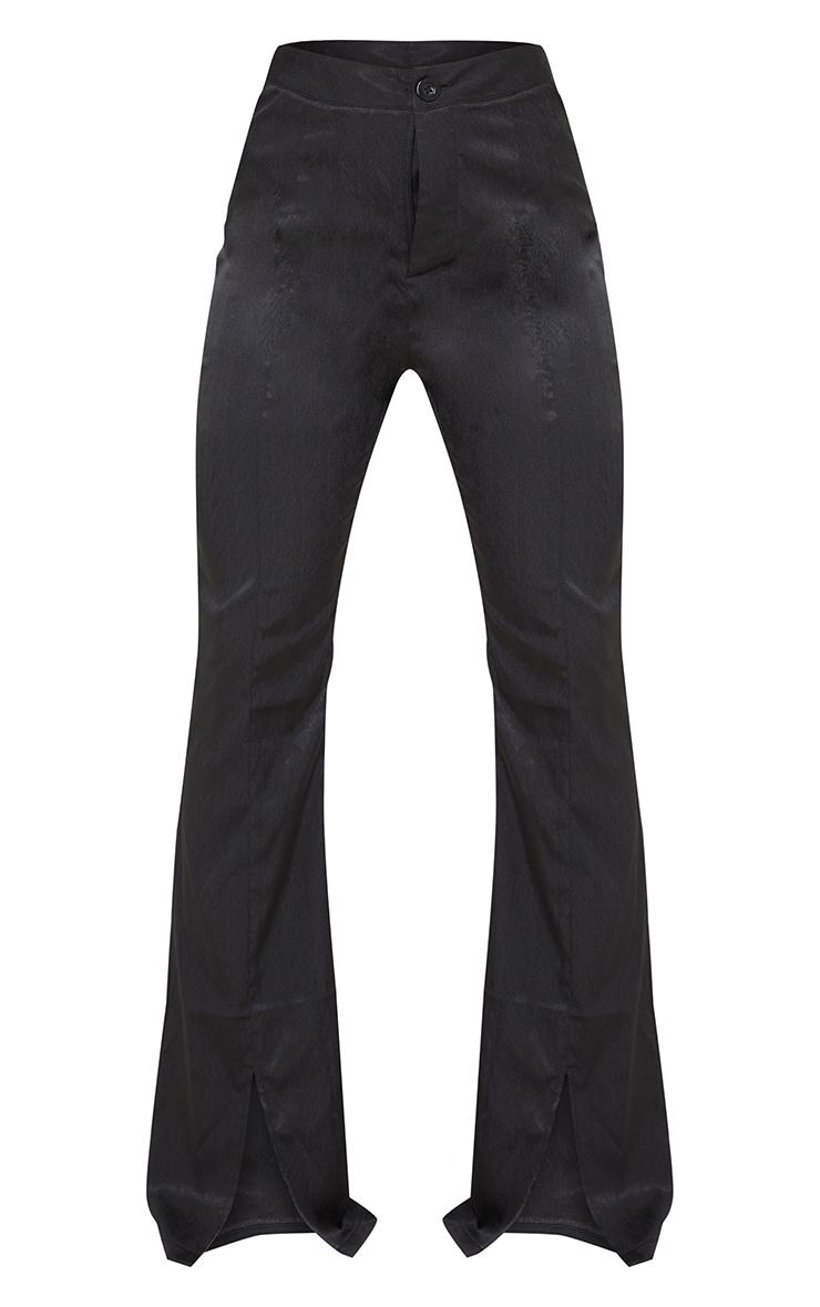 Black Woven Split Hem Flared Pants 5