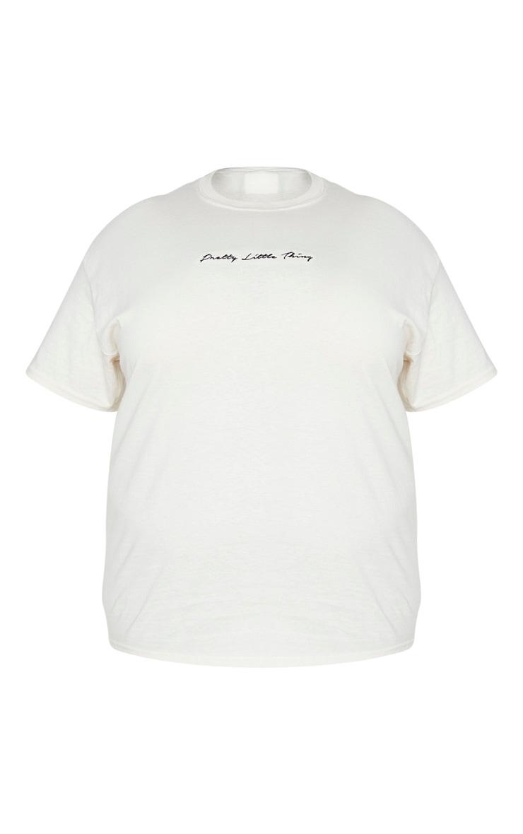 PRETTYLITTLETHING Plus Sand Oversized Slogan T Shirt 5