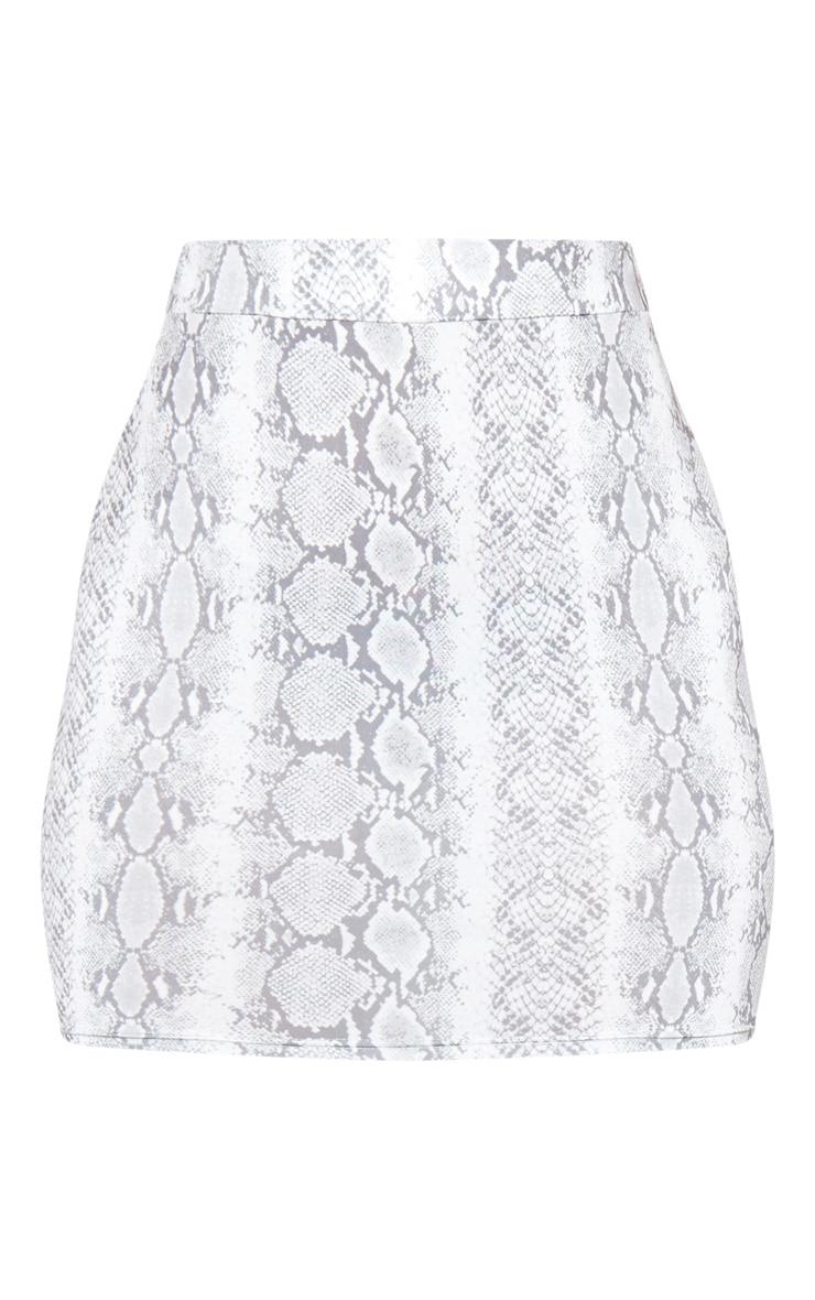 Snake Print Ruched Seam Detail Mini Skirt  3
