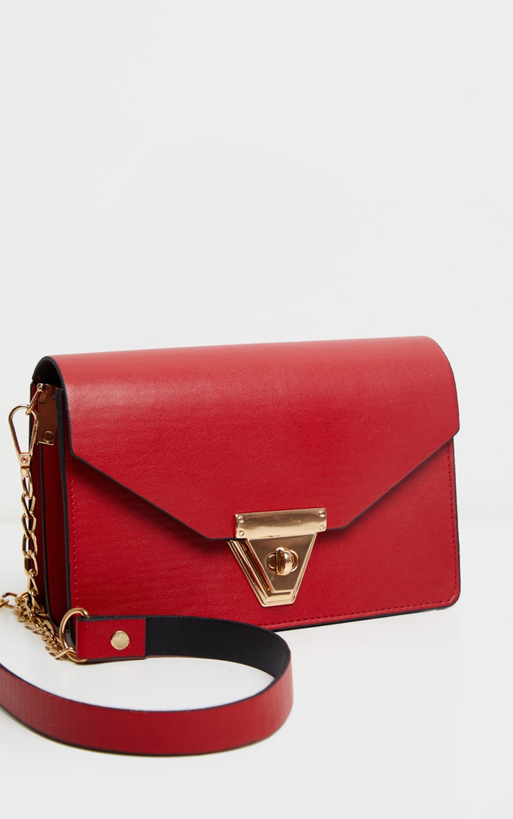 Red PU Envelope Cross Body Bag 3
