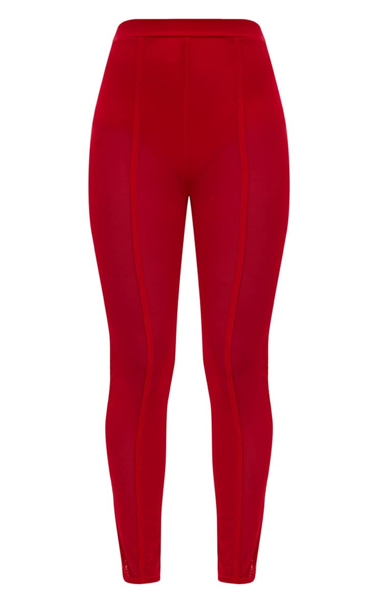 Red Mesh Front Seam Skinny Trousers 3