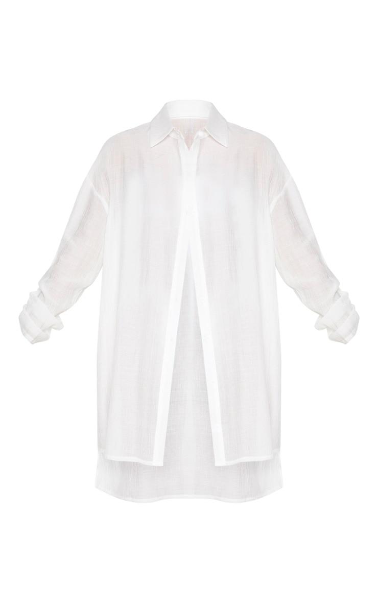 Ecru Oversized Beach Shirt Dress 5