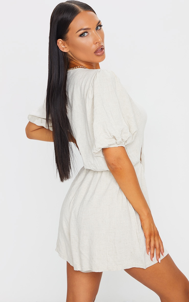 Stone Woven Puff Sleeve Tie Detail Romper 2