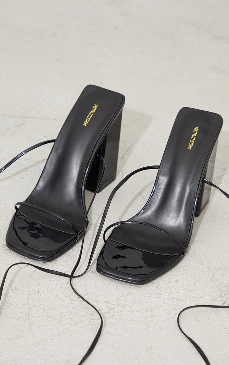 Black Patent PU Strappy Block Heel Sandals 3