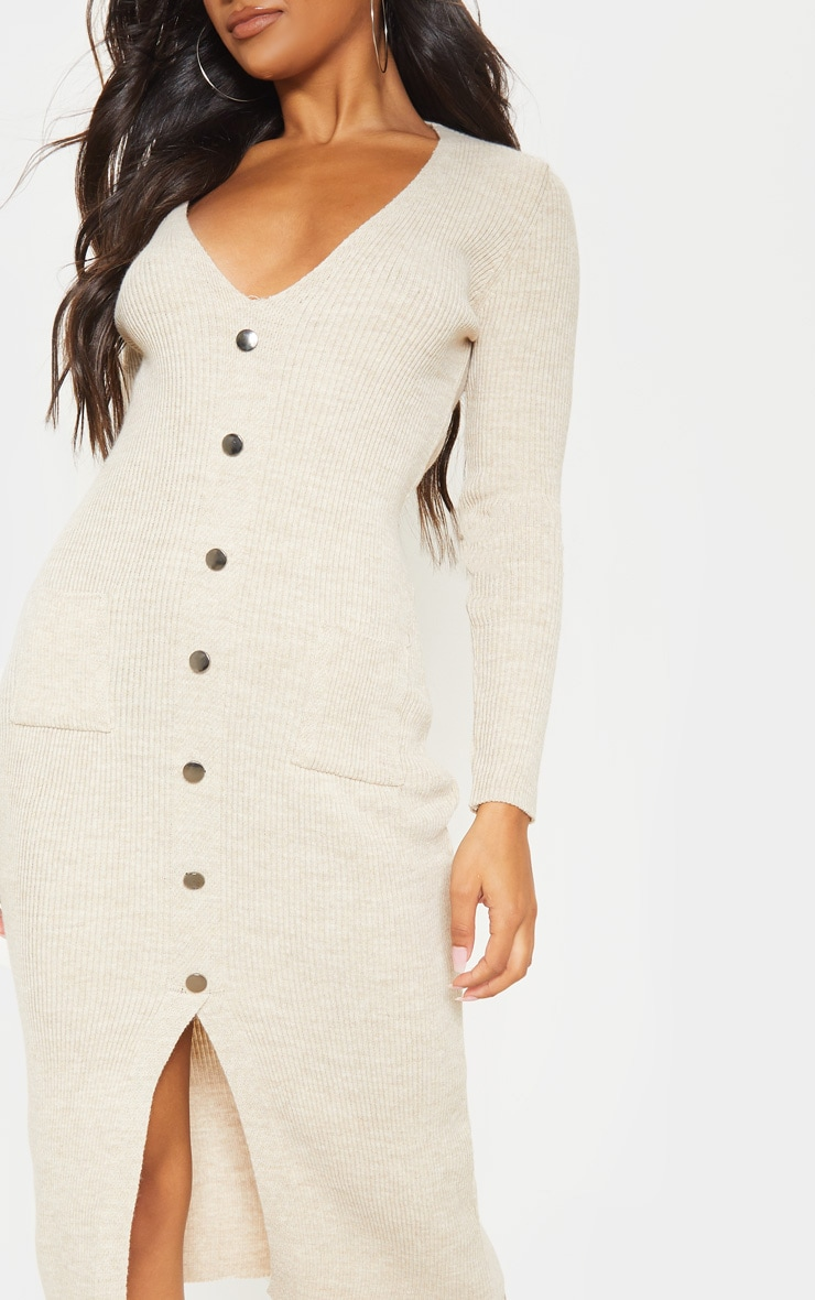 Oatmeal Button Front Knitted Midi Dress 5