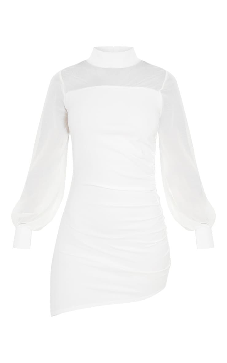 White Mesh Bodice Long Sleeve Ruched Bodycon Dress 3