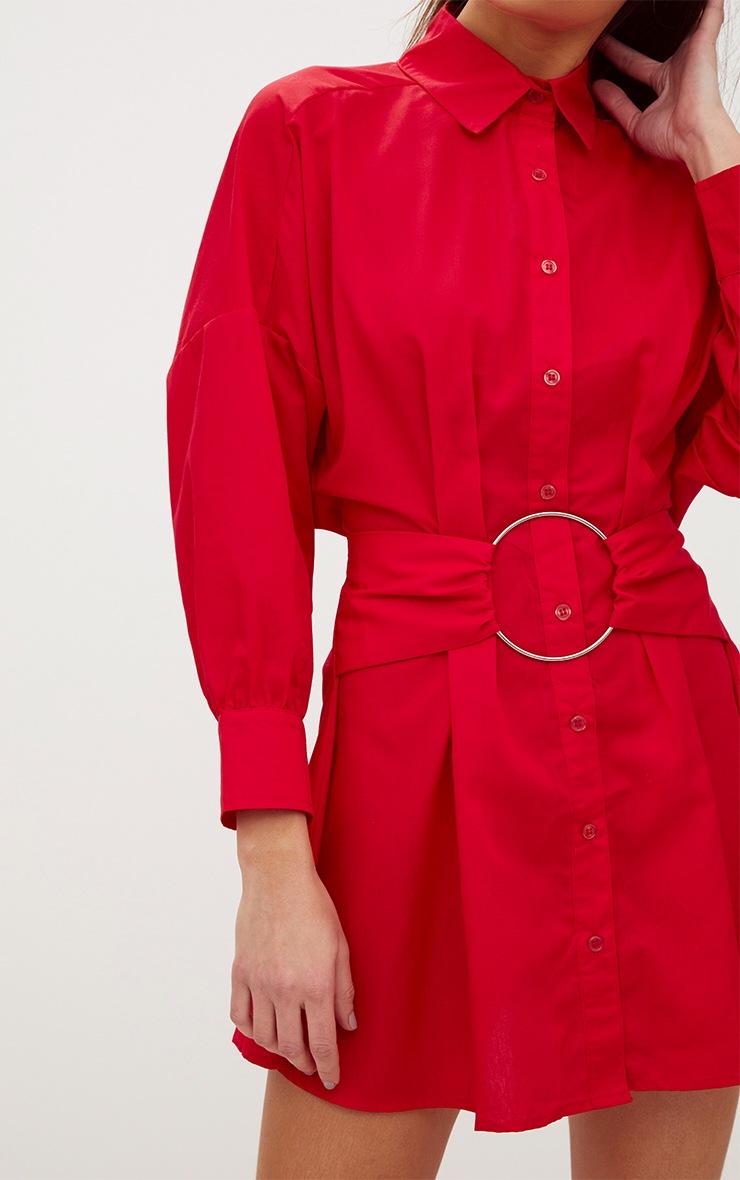 Red Ring Waist Detail Shirt Dress 5