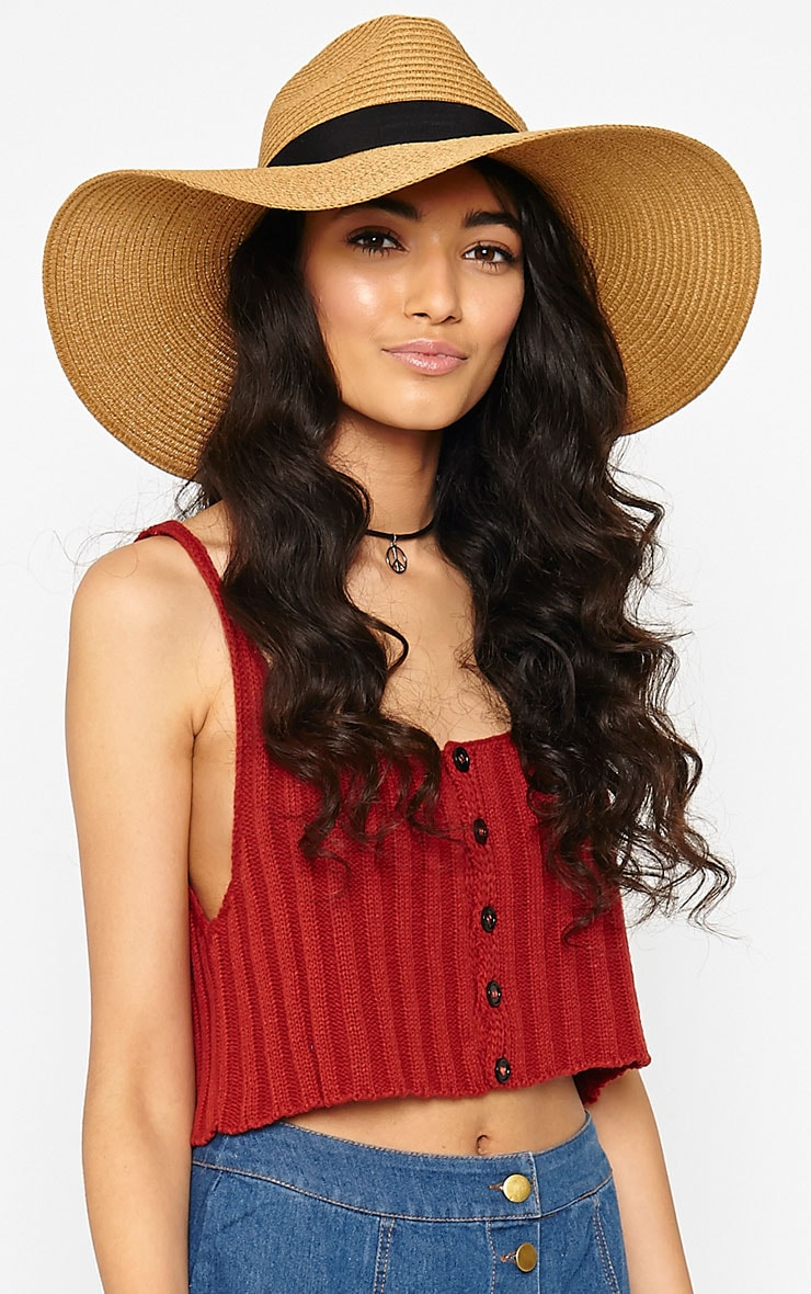 Zinnia Tan Oversized Straw Fedora Hat 2