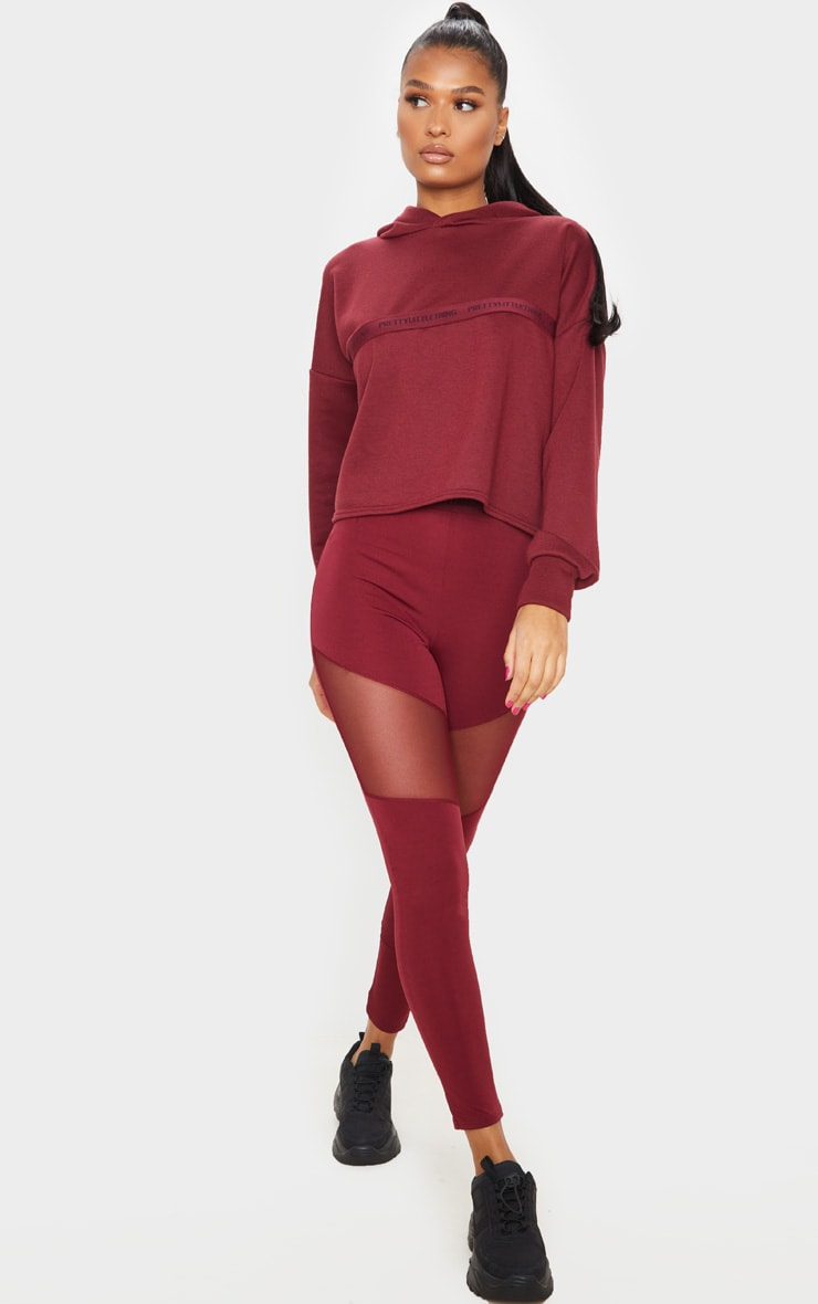 PRETTYLITTLETHING Berry Sport Cropped Hoodie 3