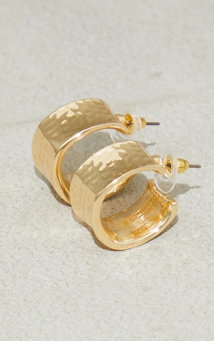 Gold Mini Chunky Hammered Hoop Earrings 2