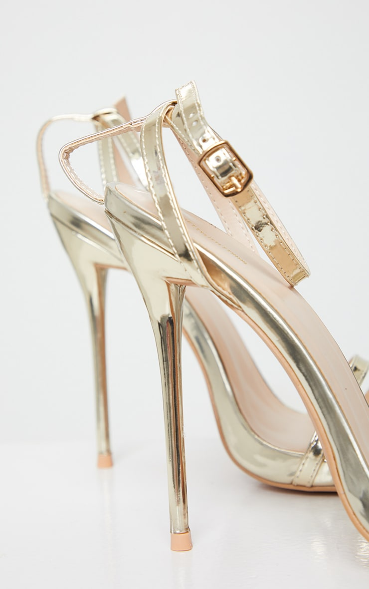 Gold Wide Fit High Strappy Sandal 4