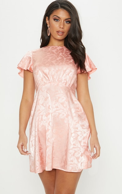 f9a8c0298e Pink Floral Jacquard Ruched Top Skater Dress