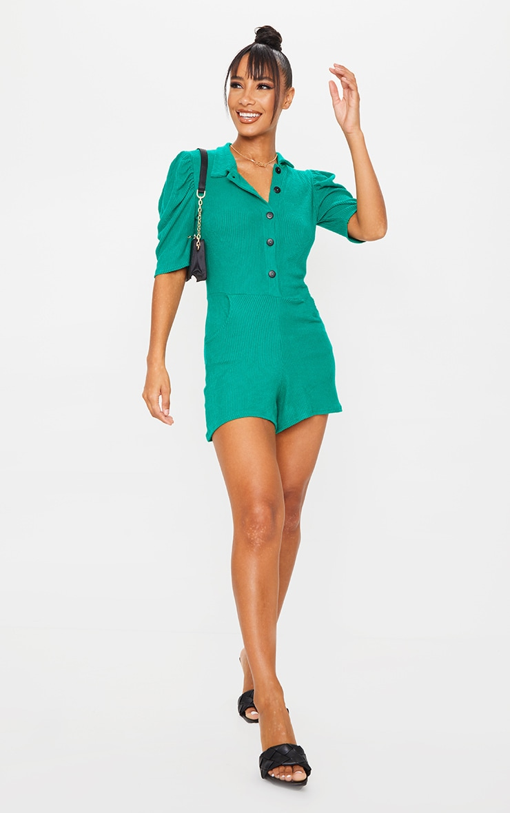 Emerald Green Brushed Rib Puff Sleeve Button Front Romper 3