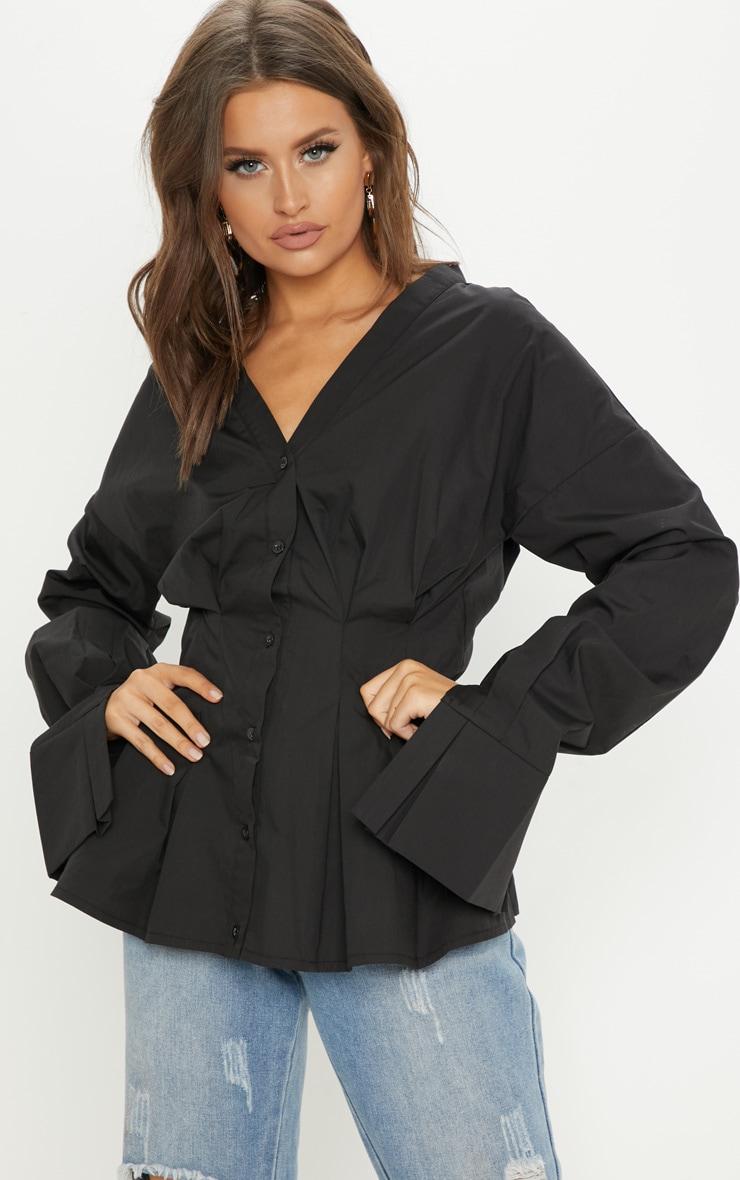 Black Ruched Waist Oversized Shirt 4