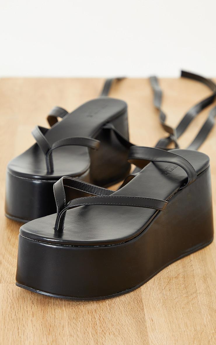 Black Toe Thong Ankle Tie High Flatform Sandals 4