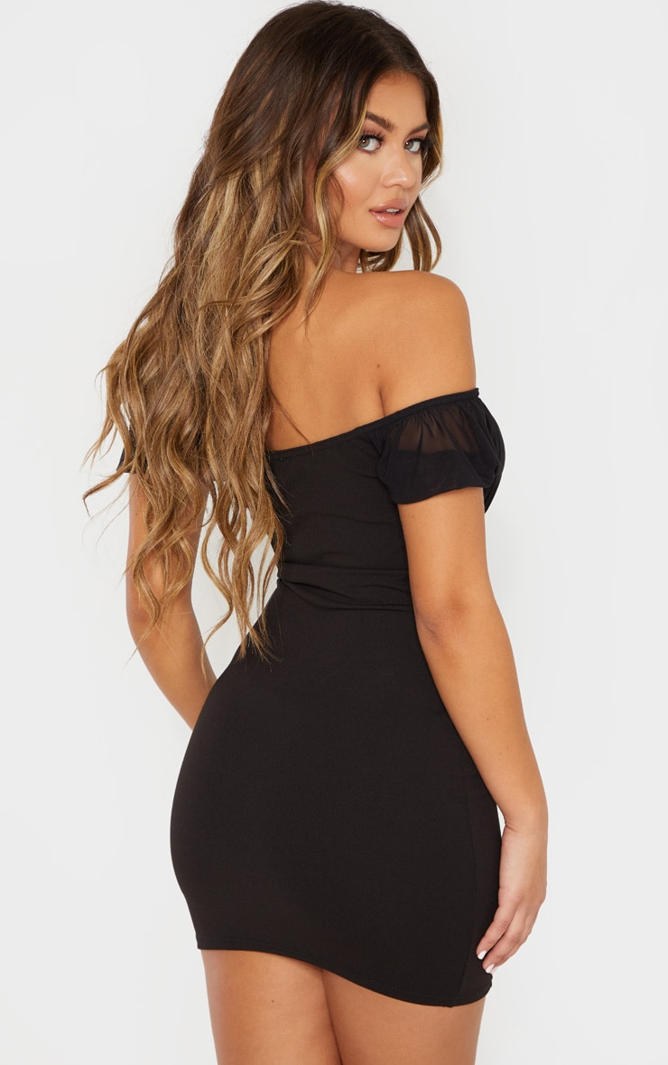 Black Ruched Bust Bardot Bodycon Dress 2