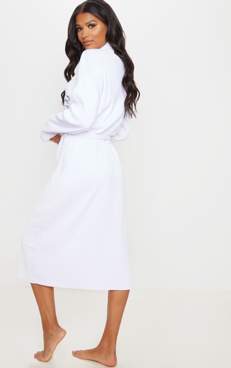 PRETTYLITTLETHING White Embroidered Long Waffle Dressing Gown 2
