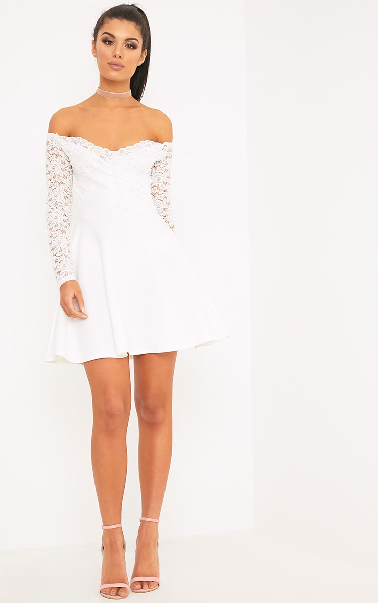 Luciel White Lace Sleeve Bardot Skater Dress 4