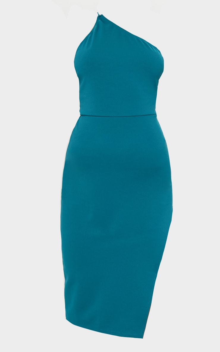 Emerald Green Strappy One Shoulder Midi Dress 5